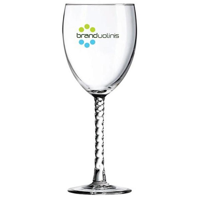Printed Twisted Stem Wine Glasses - For Weddings