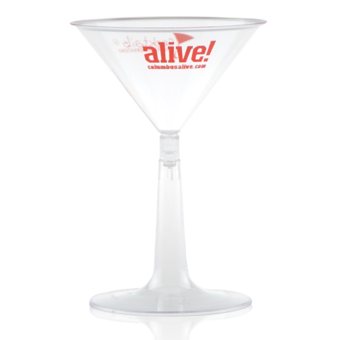 6 oz. Clear Plastic Martini Glasses Detachable Base