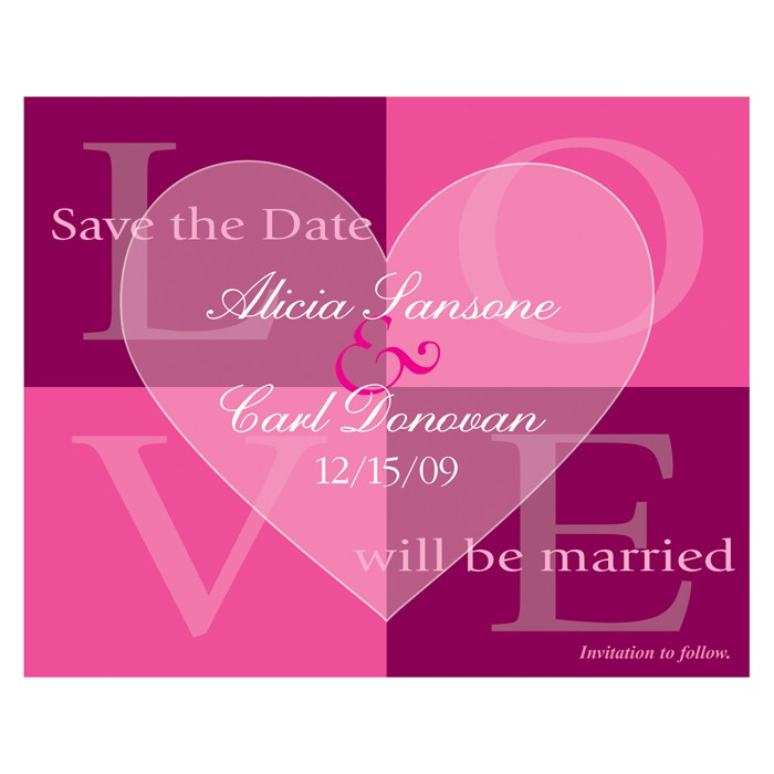 Save the Date - Pink Quadrant